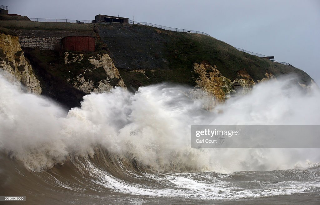 Waves hit the shore on February 8, 2016 in Newhaven, East Sussex. Storm Imogen is the ninth named storm to hit the UK this season. This year's storms are being named in an effort by the Met Office and Met Eireann to increase public awareness and safety. They were named by public ballot and there are no names for the letters Q, U, X, Y and Z.