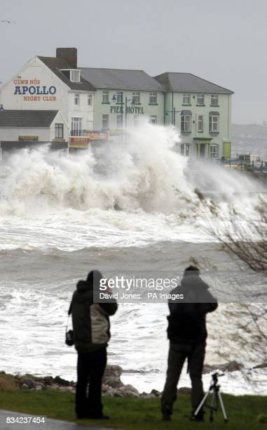 Waves lash the seafront at Porthcawl Wales
