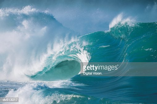 Waves, North Shore of Oahu, Hawaiian Islands, USA : Stock Photo
