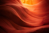 Wave shaped rock walls at the Lower Antelope Canyon outside Page, Arizona.