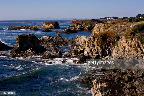 Waves of the Pacific Ocean crash on the rugged coast on September 8 near Mendocino California Located a few hours north of San Francisco Mendocino...