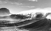 Black and white photo of waves, Sydney Australia