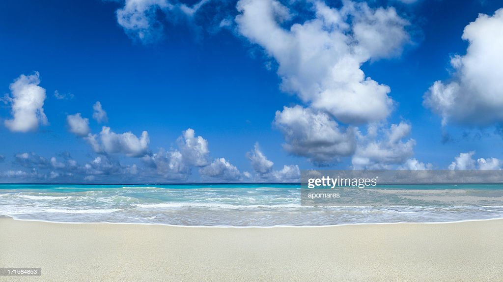 Waves, sand and sky in a tropical beach background : Stock Photo