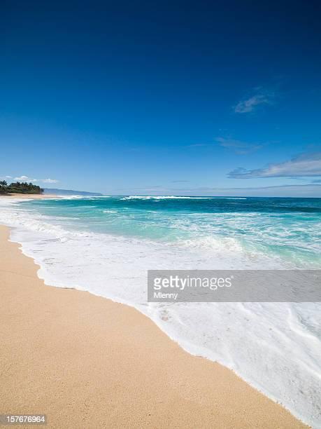 Waves splashing on a beach in Oahu, Hawaii