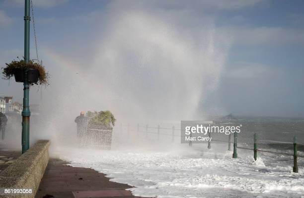 Waves whipped up by Hurricane Ophelia crash over the seafront in Penzance on October 16 2017 in Cornwall England Hurricane Ophelia comes exactly 30...