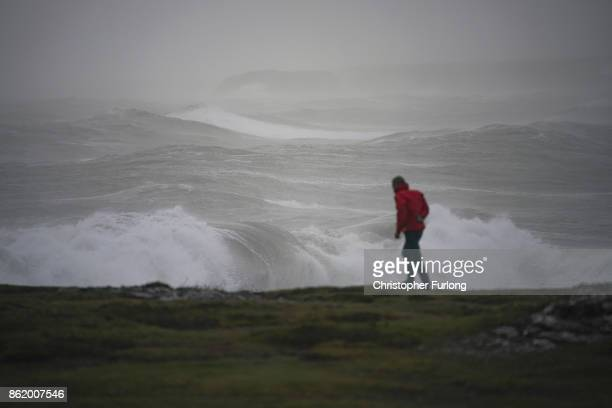 Waves whipped up by the wind of Hurricane Ophelia crash against the rocks at Trearddur Bay on October 16 2017 in Holyhead Wales Hurricane Ophelia...