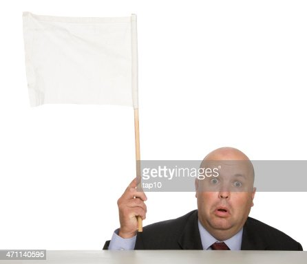 Waving a white flag to show a man defeated
