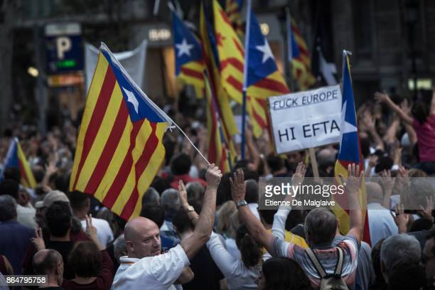 Waving Catalan flags and sign calling Europe massive crowd rally to demand the release of imprisoned Catalan leaders Jordi Sanchez and Jordi Cuixart...