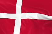 Waving Flag of Denmark - 3D Render of the Danish Flag with Silky Texture