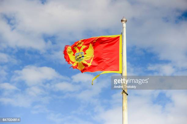 Waving flag of Montenegro on the blue sky background, Budva