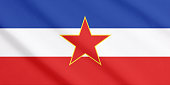 Waving flag of Socialist Federal Republic Yugoslavia (1943-1992).