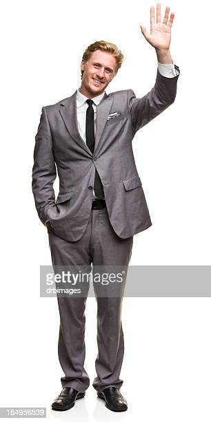 Waving Man in Suit