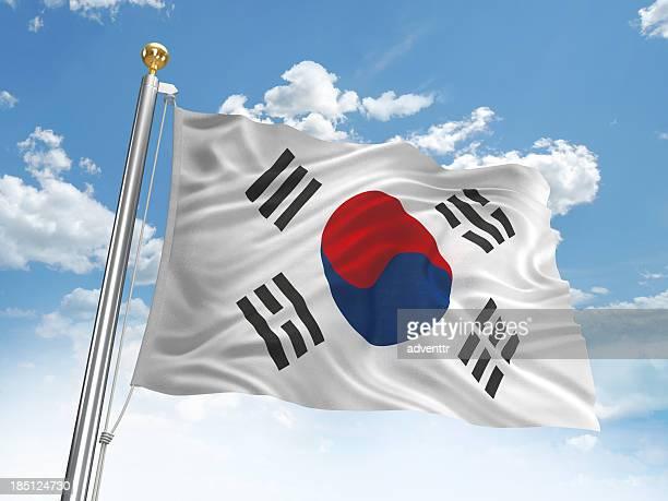 手を振る韓国の国旗