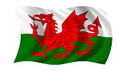 waving welsh flag in wind