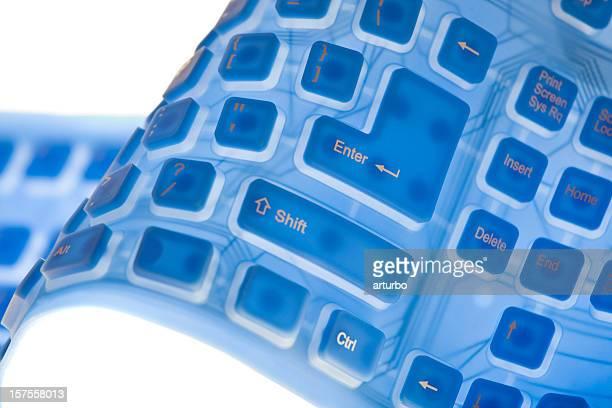 Azul Ondulado teclado de Borracha