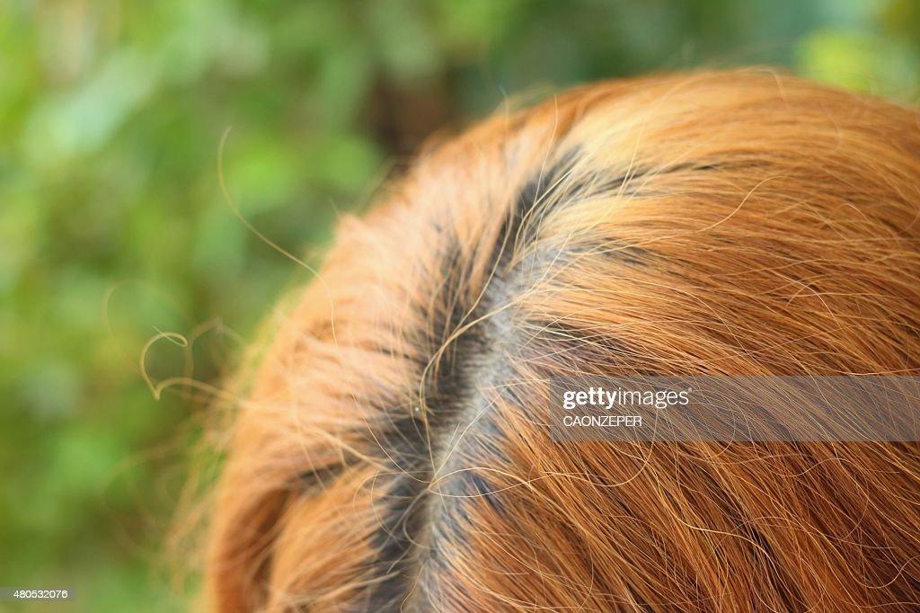 Wavy gold hairs of a beautiful women : Stock Photo
