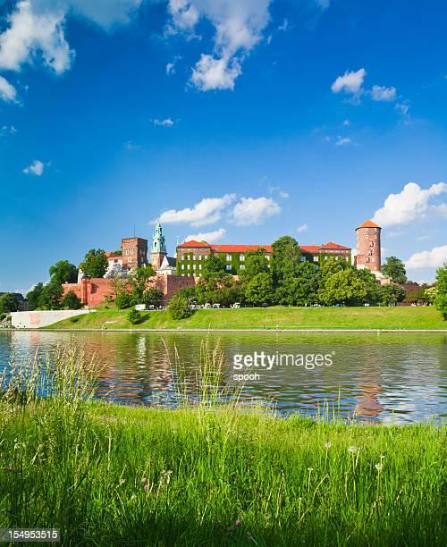 Río vístula castillo de Cracovia, Cracovia, en Polonia