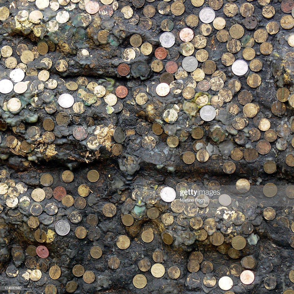 Wax and money : Stock Photo