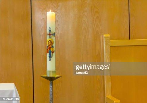 Cera de vela decoradas con temáticas Cristiana : Foto de stock