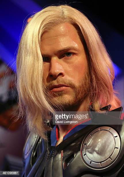 A wax figure of actor Chris Hemsworth is displayed at Madame Tussauds on January 6 2014 in Hollywood California