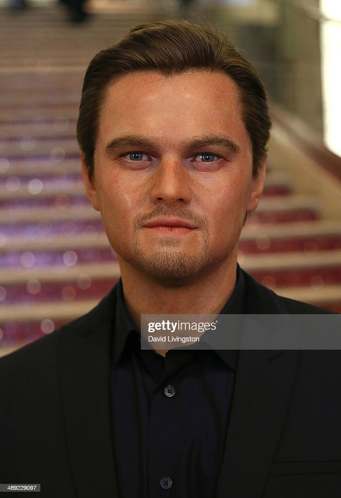 A wax figure of actor Leonardo DiCaprio from Madame Tussauds Hollywood is seen on the grand staircase to the Dolby Theatre on February 13, 2014 in Hollywood, California.