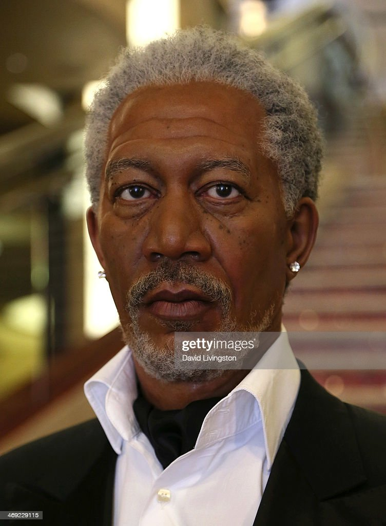 A wax figure of actor <a gi-track='captionPersonalityLinkClicked' href=/galleries/search?phrase=Morgan+Freeman&family=editorial&specificpeople=169833 ng-click='$event.stopPropagation()'>Morgan Freeman</a> from Madame Tussauds Hollywood is seen on the grand staircase to the Dolby Theatre on February 13, 2014 in Hollywood, California.