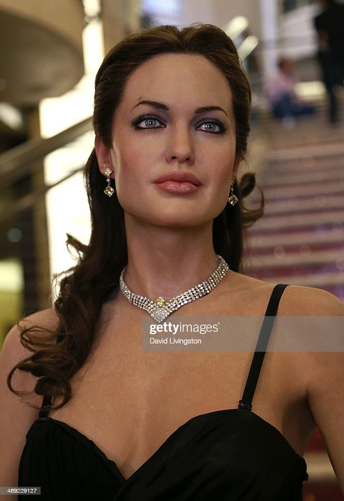 A wax figure of actress <a gi-track='captionPersonalityLinkClicked' href=/galleries/search?phrase=Angelina+Jolie&family=editorial&specificpeople=201591 ng-click='$event.stopPropagation()'>Angelina Jolie</a> Morgan Freeman from Madame Tussauds Hollywood is seen on the grand staircase to the Dolby Theatre on February 13, 2014 in Hollywood, California.