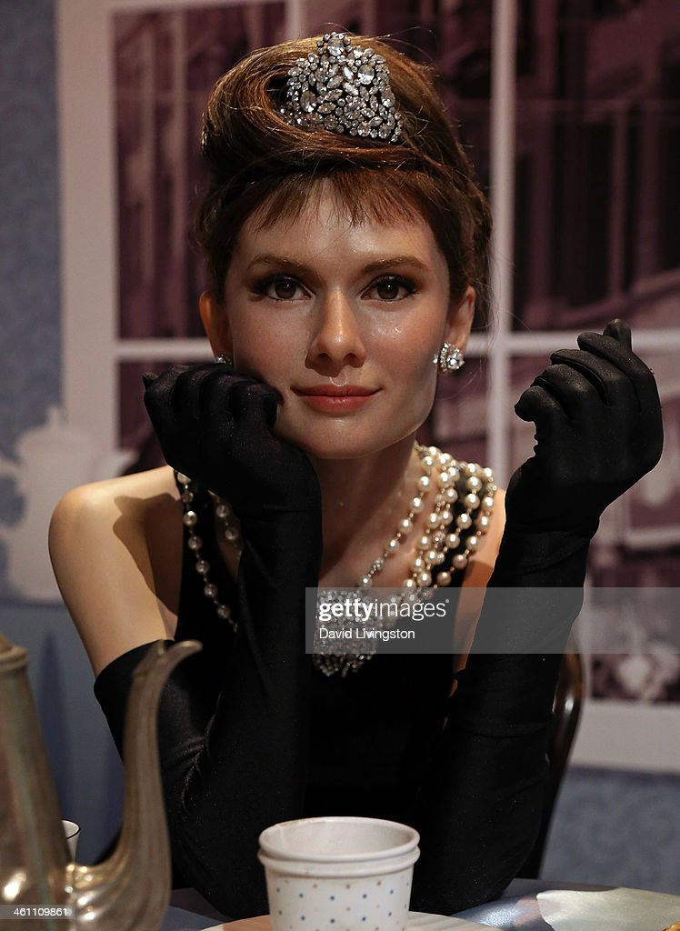 A wax figure of actress Audrey Hepburn is displayed at Madame Tussauds on January 6 2014 in Hollywood California