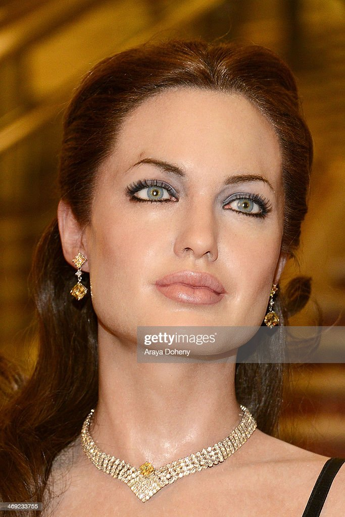 A wax figure of <a gi-track='captionPersonalityLinkClicked' href=/galleries/search?phrase=Angelina+Jolie&family=editorial&specificpeople=201591 ng-click='$event.stopPropagation()'>Angelina Jolie</a> at the Madame Tussauds Hollywood Unveils Sandra Bullock Wax Figure event at Madame Tussauds on February 13, 2014 in Hollywood, California.