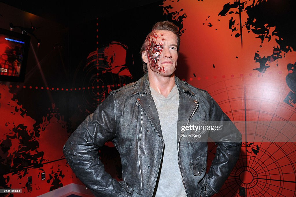 A wax figure of <a gi-track='captionPersonalityLinkClicked' href=/galleries/search?phrase=Arnold+Schwarzenegger&family=editorial&specificpeople=156406 ng-click='$event.stopPropagation()'>Arnold Schwarzenegger</a> (as Terminator) is displayed at Madame Tussaud's Wax Museum on July 29, 2009 in Hollywood, California.