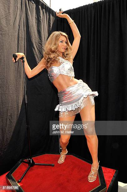 A wax figure of Beyonce Knowles is displayed in the bright sunlight at the announcement that begins the countdown to the Grand Opening of the first...