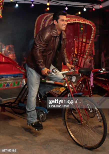 A wax figure of Bollywood actor Salman Khan displayed at Madame Tussauds Wax Museum at Connaught Place on October 24 2017 in New Delhi Located in the...