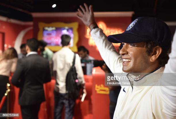 Wax figure of cricket player Sachin Tendulkar displayed at Madame Tussauds Museum situated in Regal Cinema building during its Press preview on...