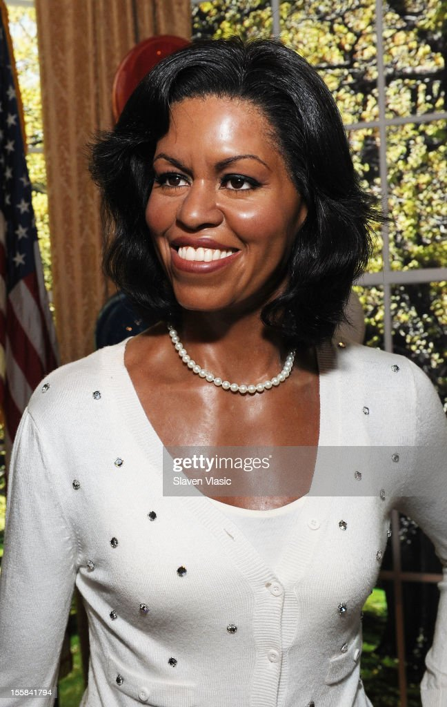 Wax figure of First Lady <a gi-track='captionPersonalityLinkClicked' href=/galleries/search?phrase=Michelle+Obama&family=editorial&specificpeople=2528864 ng-click='$event.stopPropagation()'>Michelle Obama</a> is displayed as Madame Tussauds New York Celebrates President Barack Obama Reelection at Madame Tussauds on November 8, 2012 in New York City.