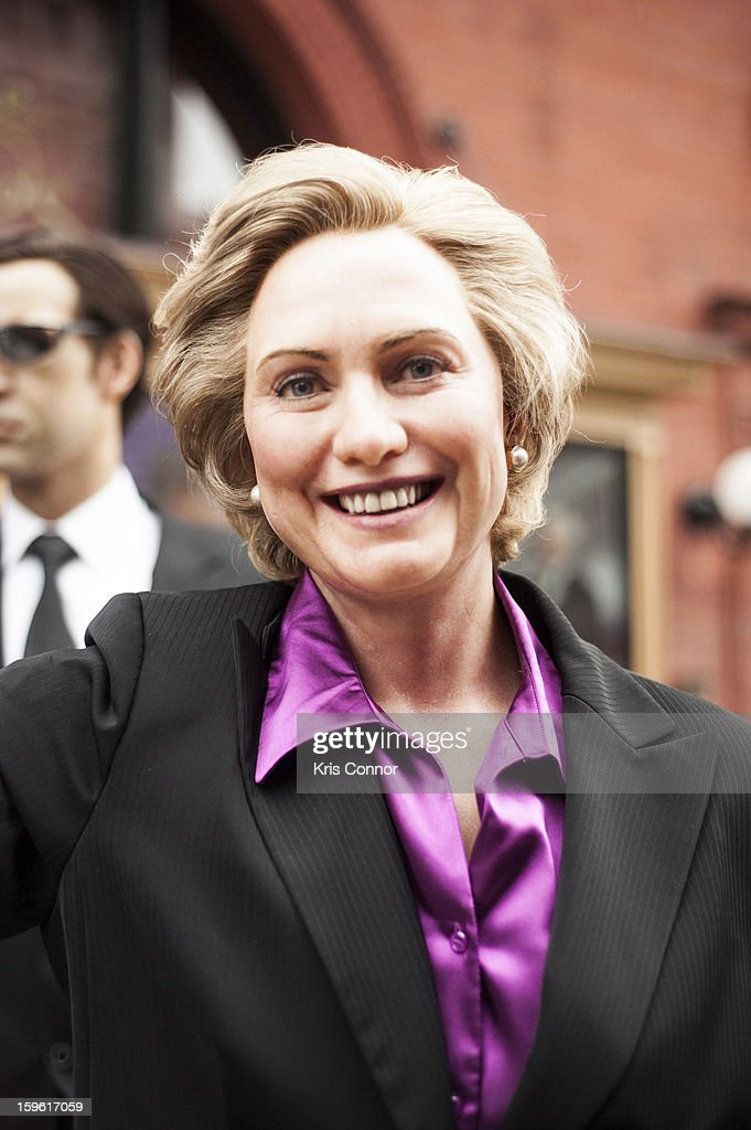 A wax figure of former first lady <a gi-track='captionPersonalityLinkClicked' href=/galleries/search?phrase=Hillary+Clinton&family=editorial&specificpeople=76480 ng-click='$event.stopPropagation()'>Hillary Clinton</a> during the Madame Tussauds DC Presidential Wax Figures Bus Tour on January 17, 2013 in Washington, United States.