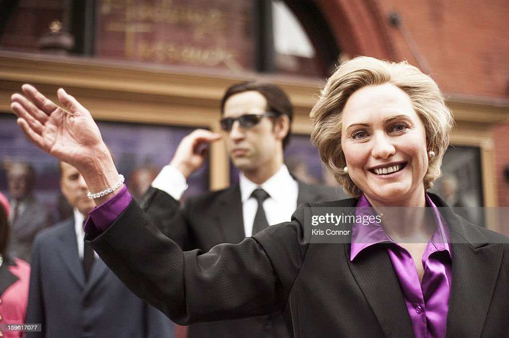 A wax figure of former first lady Hillary Clinton during the Madame Tussauds DC Presidential Wax Figures Bus Tour on January 17, 2013 in Washington, United States.