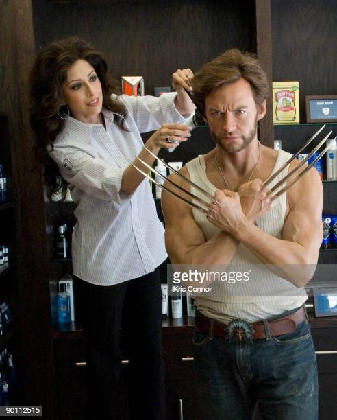 A wax figure of Hugh Jackman as Wolverine is prepared prior to its move to Madame Tussauds Wax Museum at The Grooming Lounge on August 27 2009 in...