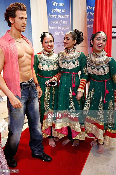 A wax figure of Indian Bollywood film actor Hrithik Roshan on display at the Bollywood Exhibit unveiling at Madame Tussauds on March 7 2013 in New...