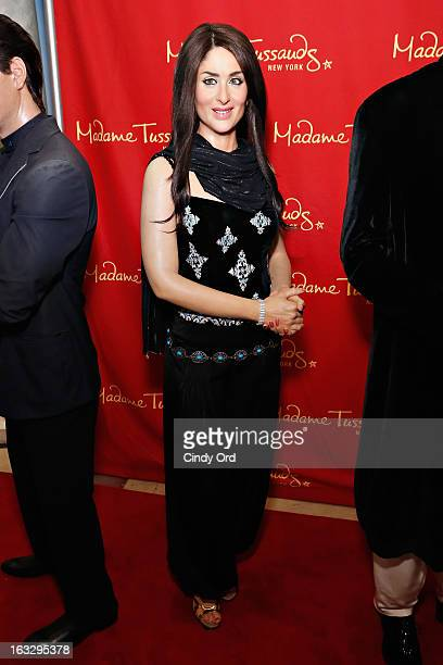 A wax figure of Indian Bollywood film actress Kareena Kapoor on display at the Bollywood Exhibit unveiling at Madame Tussauds on March 7 2013 in New...