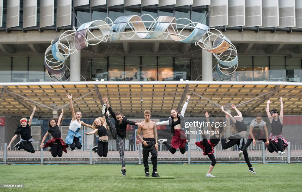 A wax figure of Justin Bieber is seen at ANZ Stadium with local hip-hop dance talent, 'Kinetic Dance Force' on March 14, 2017 in Sydney, Australia. The wax figure from Madame Tussauds Sydney was placed outside the stadium to greet the music star ahead of his final Purpose World Tour show in Australia on Wednesday 15 March.