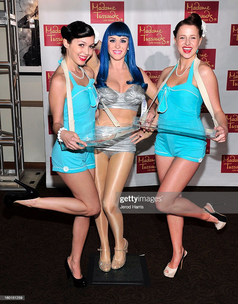 A wax figure of Katy Perry (C) is unveiled by Madame Tussauds Las Vegas at Paramount Studios on January 26, 2013 in Hollywood, California.