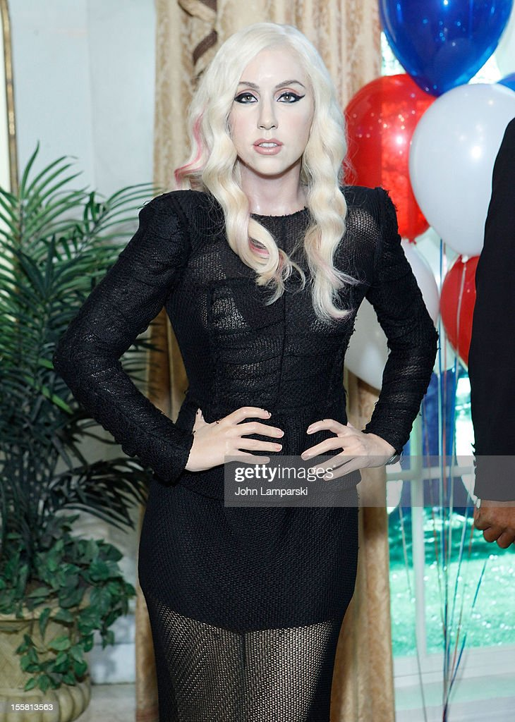Wax figure of <a gi-track='captionPersonalityLinkClicked' href=/galleries/search?phrase=Lady+Gaga&family=editorial&specificpeople=4456754 ng-click='$event.stopPropagation()'>Lady Gaga</a> is displayed as Madame Tussauds New York celebrates President Barack Obama's reelection at Madame Tussauds on November 8, 2012 in New York City.