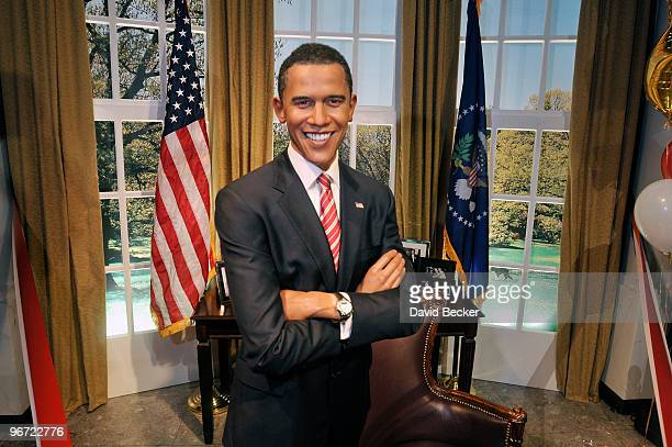 A wax figure of President Barack Obama is seen during the unveiling of a replica of his Oval Office at Madame Tussauds Las Vegas at the Venetian...