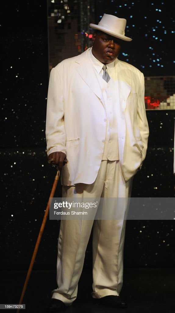 A wax figure of rap star Biggie Smalls (aka The Notorious BIG) is exhibited for the first time in London at Madame Tussauds on January 14, 2013 in London, England.