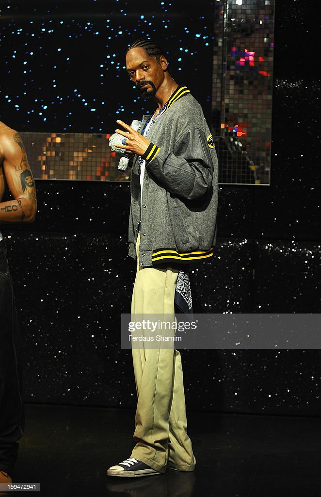 A wax figure of rap star Snoop Dogg is exhibited for the first time in London at Madame Tussauds on January 14, 2013 in London, England.