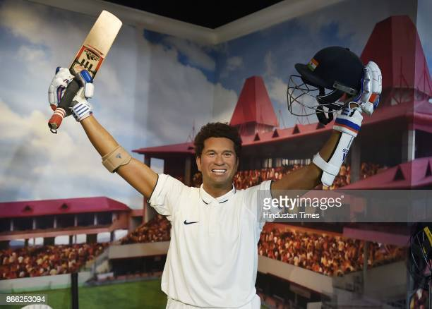Wax figure of Sachin Tendulkar displayed at Madame Tussauds Museum situated in Regal Cinema building during its Press preview on October 24 2017 in...