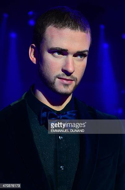 A wax figure of singer Justin Timberlake is on display during the launch of an interactive music experience exhibition at Madame Tussauds in New York...