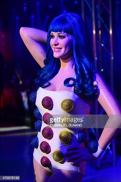 A wax figure of singer Katy Perry is on display during the launch of an interactive music experience exhibition at Madame Tussauds in New York...