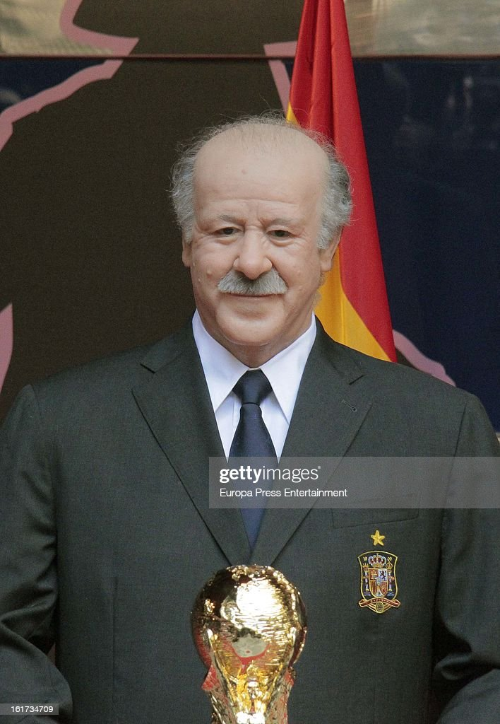 A wax figure of Spanish football coach Vicente del Bosque is unveiled on February 14, 2013 in Madrid, Spain.