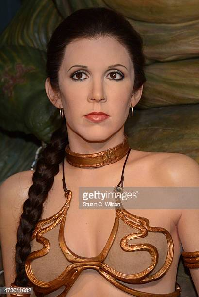 A wax figure of Star Wars character Princess Leia on display at 'Star Wars At Madame Tussauds' on May 12 2015 in London England